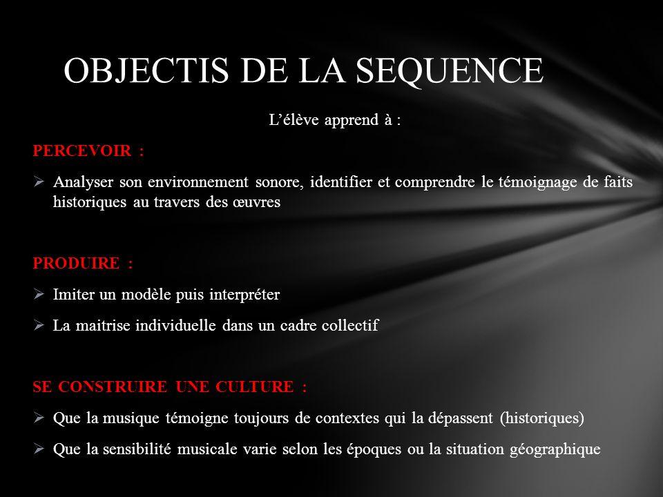 Lélève apprend à : PERCEVOIR : Analyser son environnement sonore, identifier et comprendre le témoignage de faits historiques au travers des œuvres PR