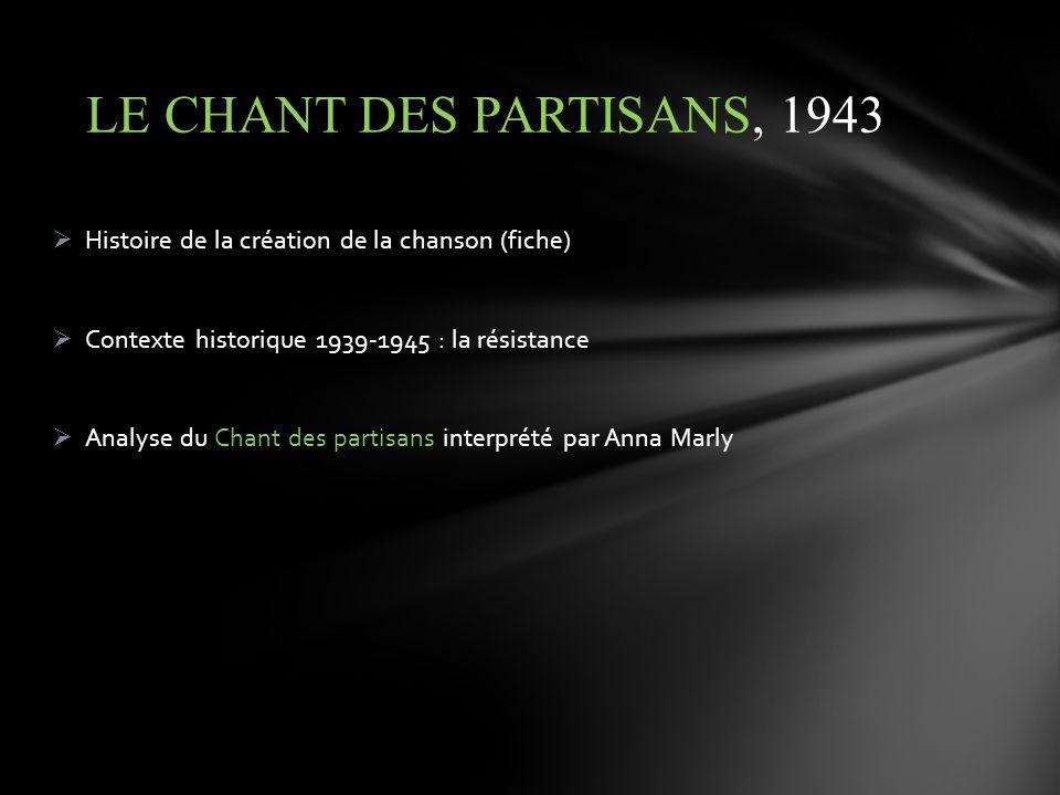 Histoire de la création de la chanson (fiche) Contexte historique 1939-1945 : la résistance Analyse du Chant des partisans interprété par Anna Marly L