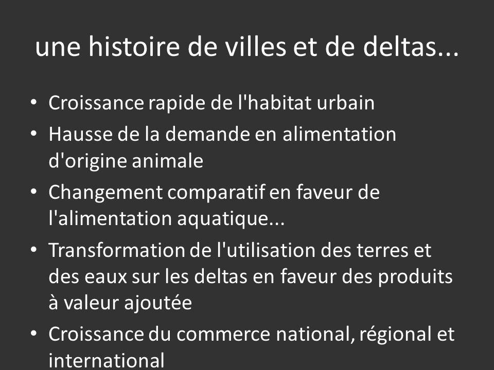 une histoire de villes et de deltas... Croissance rapide de l'habitat urbain Hausse de la demande en alimentation d'origine animale Changement compara