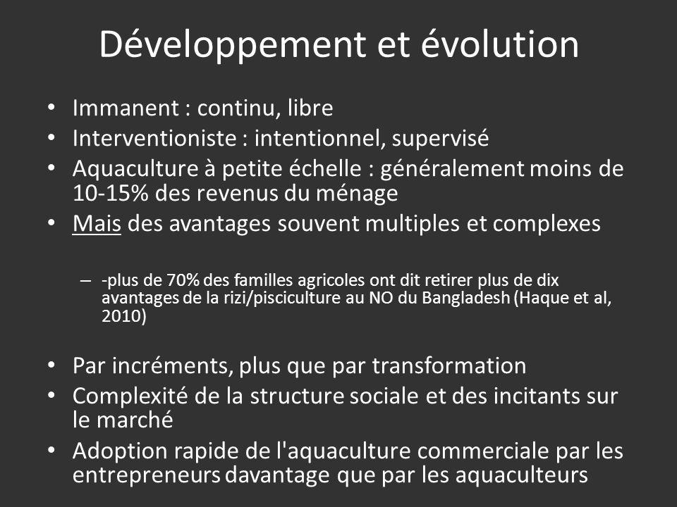 Développement et évolution Immanent : continu, libre Interventioniste : intentionnel, supervisé Aquaculture à petite échelle : généralement moins de 1