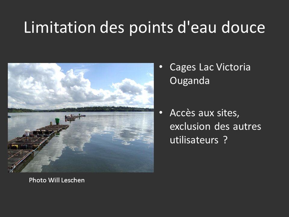 Limitation des points d'eau douce Cages Lac Victoria Ouganda Accès aux sites, exclusion des autres utilisateurs ? Photo Will Leschen
