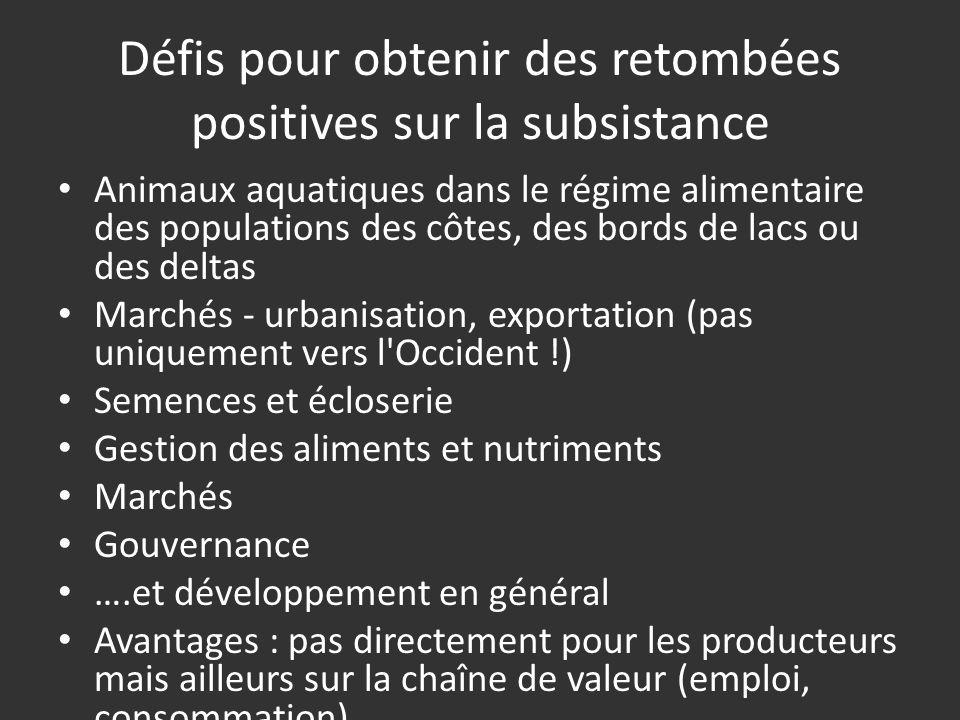 Défis pour obtenir des retombées positives sur la subsistance Animaux aquatiques dans le régime alimentaire des populations des côtes, des bords de la