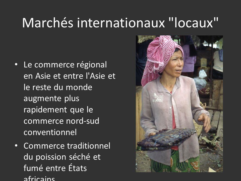 Marchés internationaux locaux Le commerce régional en Asie et entre l Asie et le reste du monde augmente plus rapidement que le commerce nord-sud conventionnel Commerce traditionnel du poission séché et fumé entre États africains