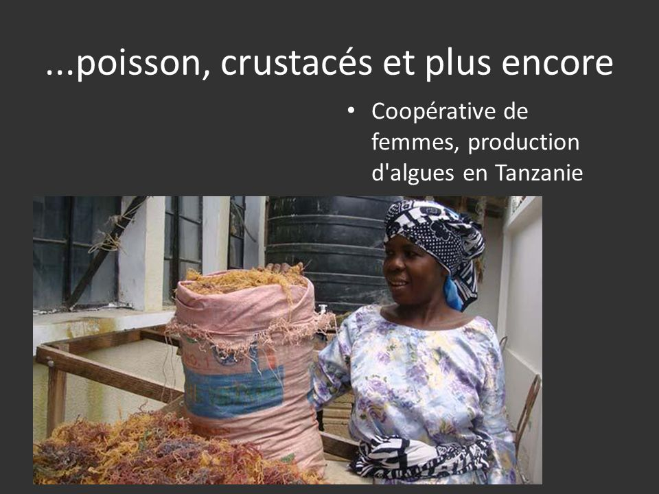 ...poisson, crustacés et plus encore Coopérative de femmes, production d algues en Tanzanie
