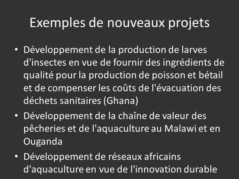 Exemples de nouveaux projets Développement de la production de larves d insectes en vue de fournir des ingrédients de qualité pour la production de poisson et bétail et de compenser les coûts de l évacuation des déchets sanitaires (Ghana) Développement de la chaîne de valeur des pêcheries et de l aquaculture au Malawi et en Ouganda Développement de réseaux africains d aquaculture en vue de l innovation durable