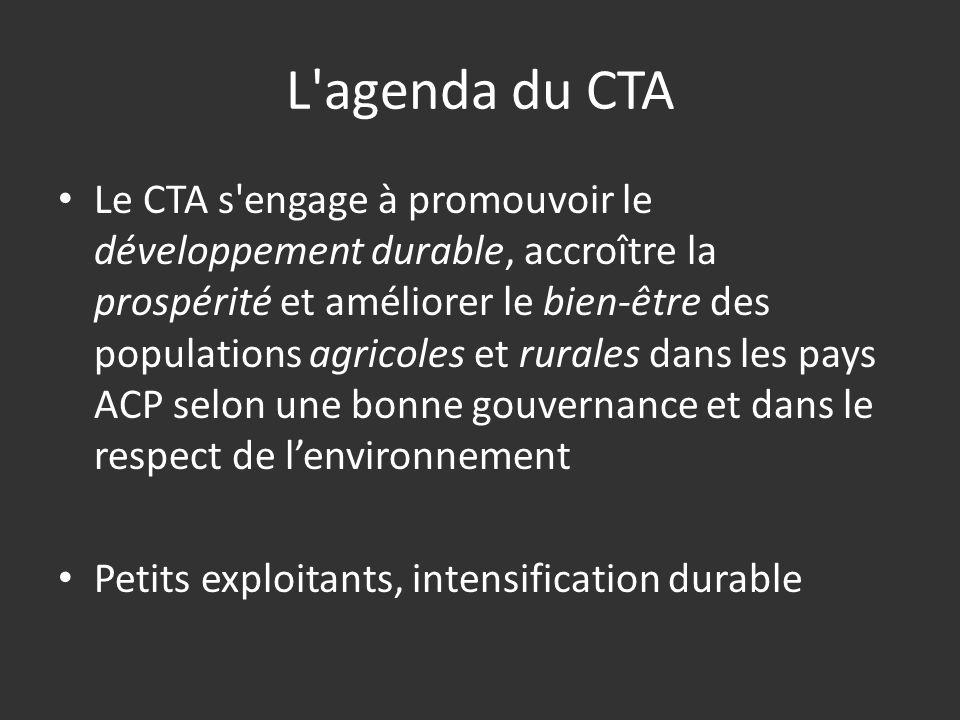 L agenda du CTA Le CTA s engage à promouvoir le développement durable, accroître la prospérité et améliorer le bien-être des populations agricoles et rurales dans les pays ACP selon une bonne gouvernance et dans le respect de lenvironnement Petits exploitants, intensification durable