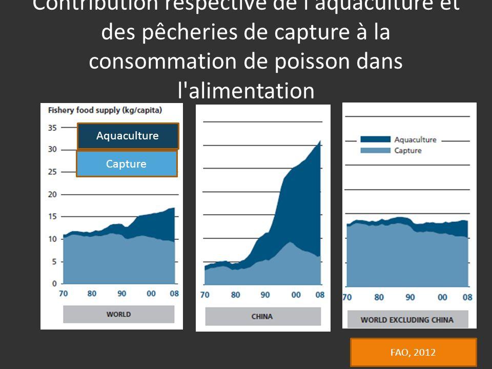 Contribution respective de l aquaculture et des pêcheries de capture à la consommation de poisson dans l alimentation Capture Aquaculture FAO, 2012