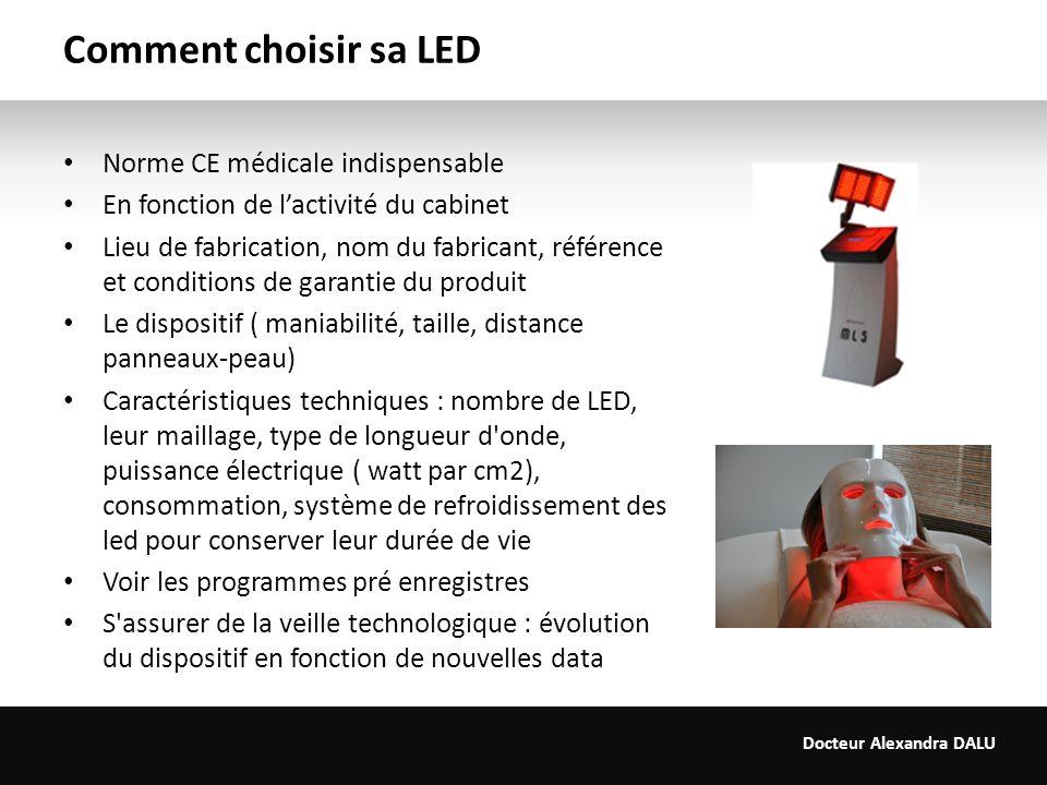 Docteur Alexandra DALU Comment choisir sa LED Norme CE médicale indispensable En fonction de lactivité du cabinet Lieu de fabrication, nom du fabrican