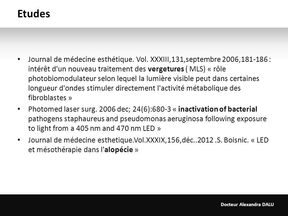 Docteur Alexandra DALU Etudes Journal de médecine esthétique. Vol. XXXIII,131,septembre 2006,181-186 : intérêt d'un nouveau traitement des vergetures