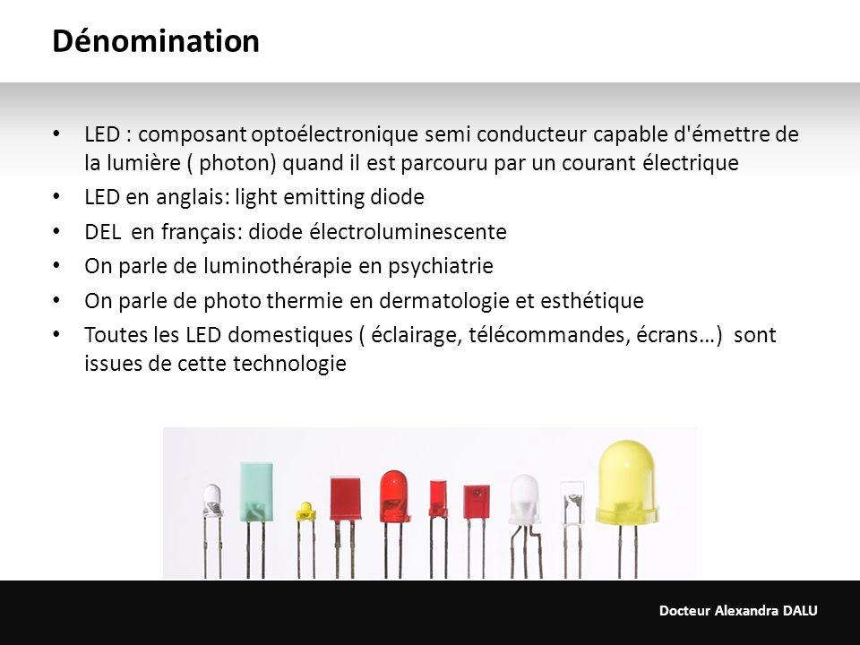 Docteur Alexandra DALU Dénomination LED : composant optoélectronique semi conducteur capable d'émettre de la lumière ( photon) quand il est parcouru p