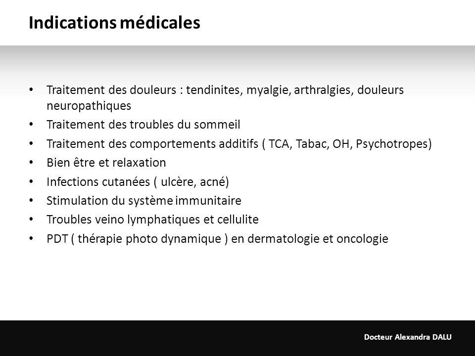Docteur Alexandra DALU Indications médicales Traitement des douleurs : tendinites, myalgie, arthralgies, douleurs neuropathiques Traitement des troubl