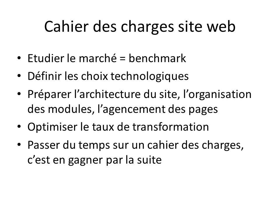 Cahier des charges site web Etudier le marché = benchmark Définir les choix technologiques Préparer larchitecture du site, lorganisation des modules,