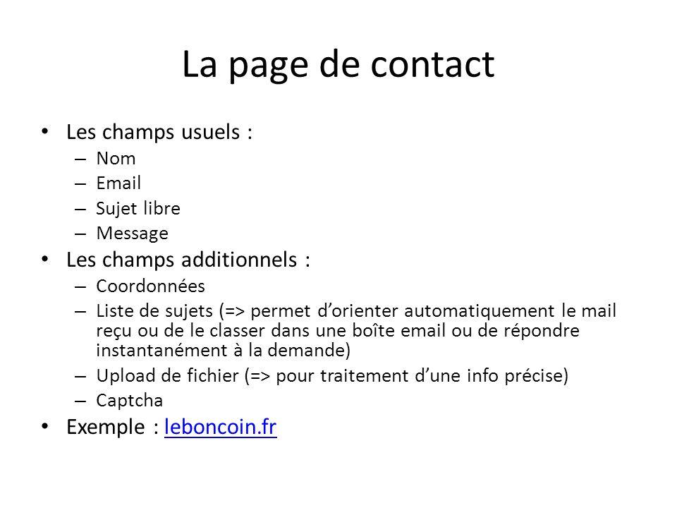 La page de contact Les champs usuels : – Nom – Email – Sujet libre – Message Les champs additionnels : – Coordonnées – Liste de sujets (=> permet dori