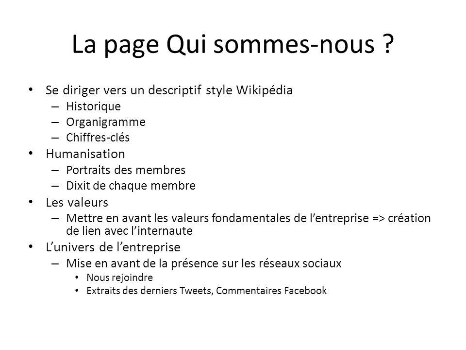 La page Qui sommes-nous ? Se diriger vers un descriptif style Wikipédia – Historique – Organigramme – Chiffres-clés Humanisation – Portraits des membr