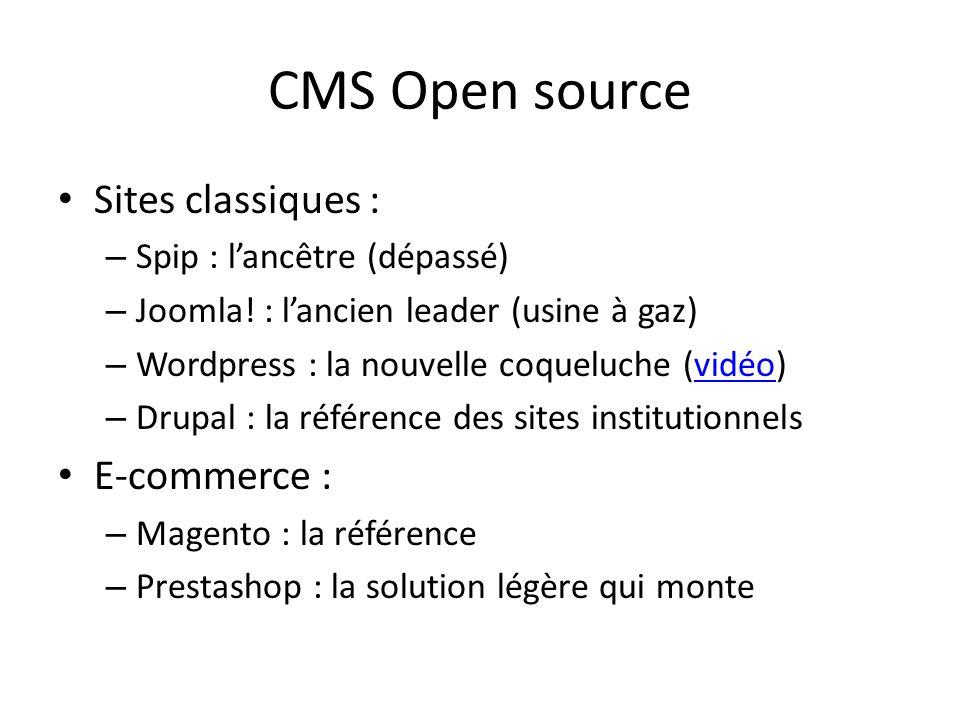 CMS Open source Sites classiques : – Spip : lancêtre (dépassé) – Joomla! : lancien leader (usine à gaz) – Wordpress : la nouvelle coqueluche (vidéo)vi