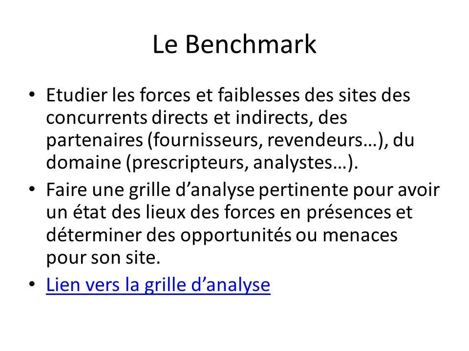 Le Benchmark Etudier les forces et faiblesses des sites des concurrents directs et indirects, des partenaires (fournisseurs, revendeurs…), du domaine