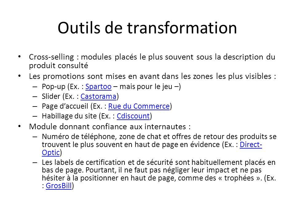 Outils de transformation Cross-selling : modules placés le plus souvent sous la description du produit consulté Les promotions sont mises en avant dan