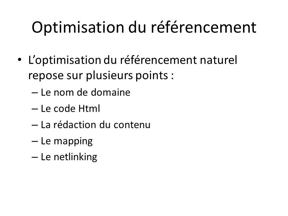 Optimisation du référencement Loptimisation du référencement naturel repose sur plusieurs points : – Le nom de domaine – Le code Html – La rédaction d