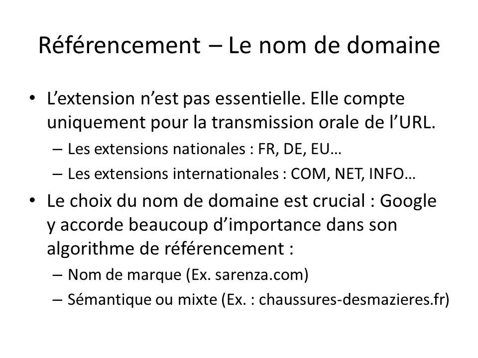Référencement – Le nom de domaine Lextension nest pas essentielle. Elle compte uniquement pour la transmission orale de lURL. – Les extensions nationa
