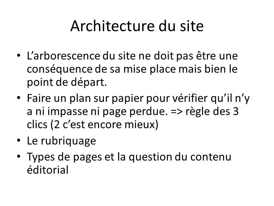 Architecture du site Larborescence du site ne doit pas être une conséquence de sa mise place mais bien le point de départ. Faire un plan sur papier po