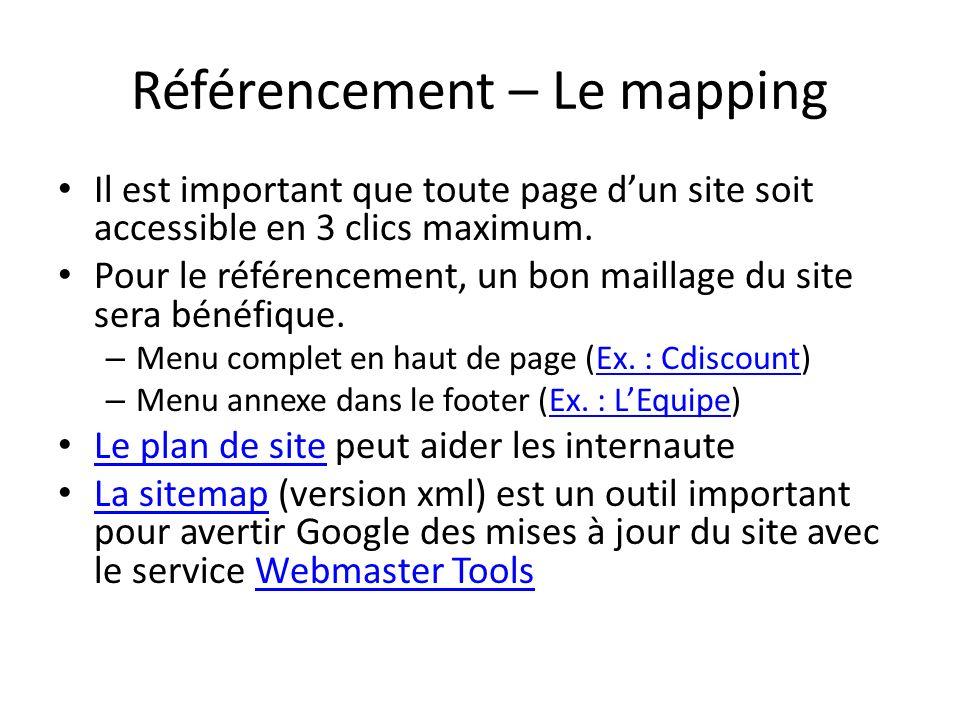 Référencement – Le mapping Il est important que toute page dun site soit accessible en 3 clics maximum. Pour le référencement, un bon maillage du site