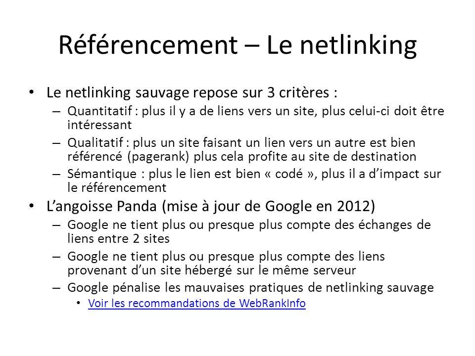 Référencement – Le netlinking Le netlinking sauvage repose sur 3 critères : – Quantitatif : plus il y a de liens vers un site, plus celui-ci doit être