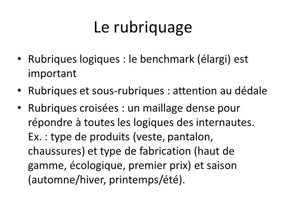 Le rubriquage Rubriques logiques : le benchmark (élargi) est important Rubriques et sous-rubriques : attention au dédale Rubriques croisées : un maill