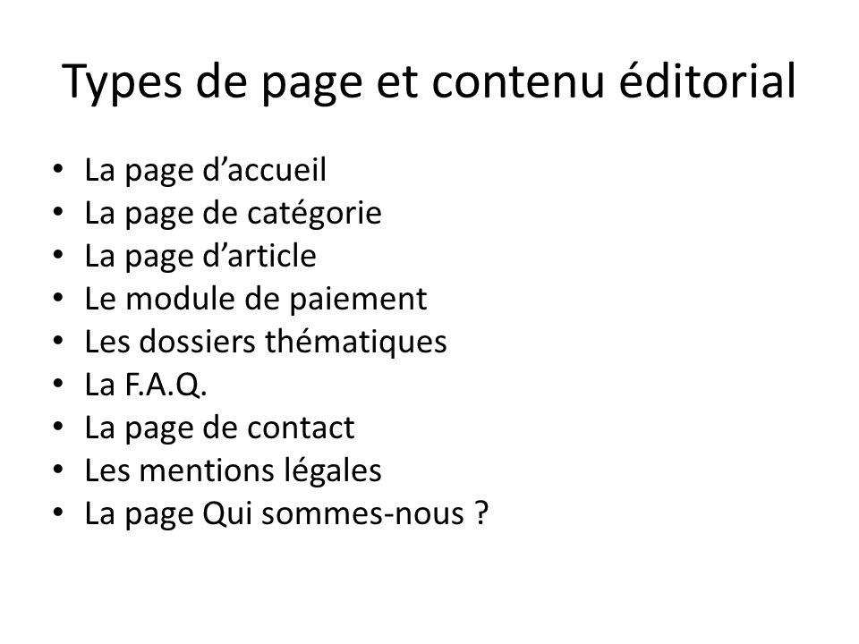 Types de page et contenu éditorial La page daccueil La page de catégorie La page darticle Le module de paiement Les dossiers thématiques La F.A.Q. La