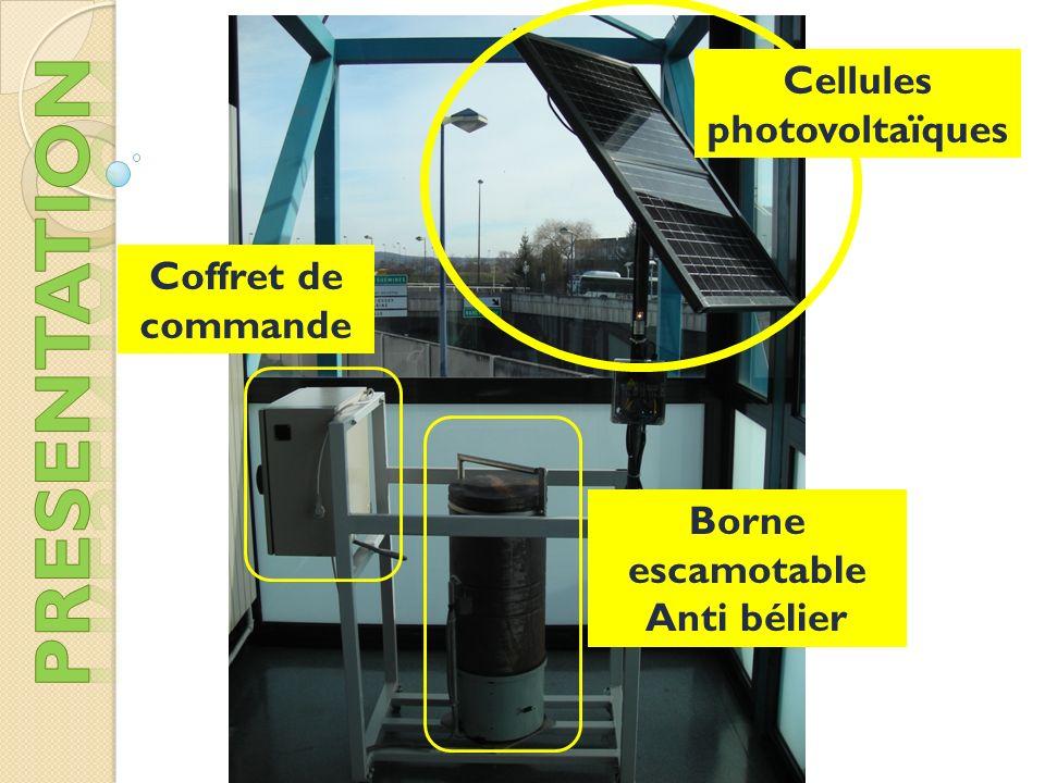 Borne escamotable Anti bélier Cellules photovoltaïques Coffret de commande
