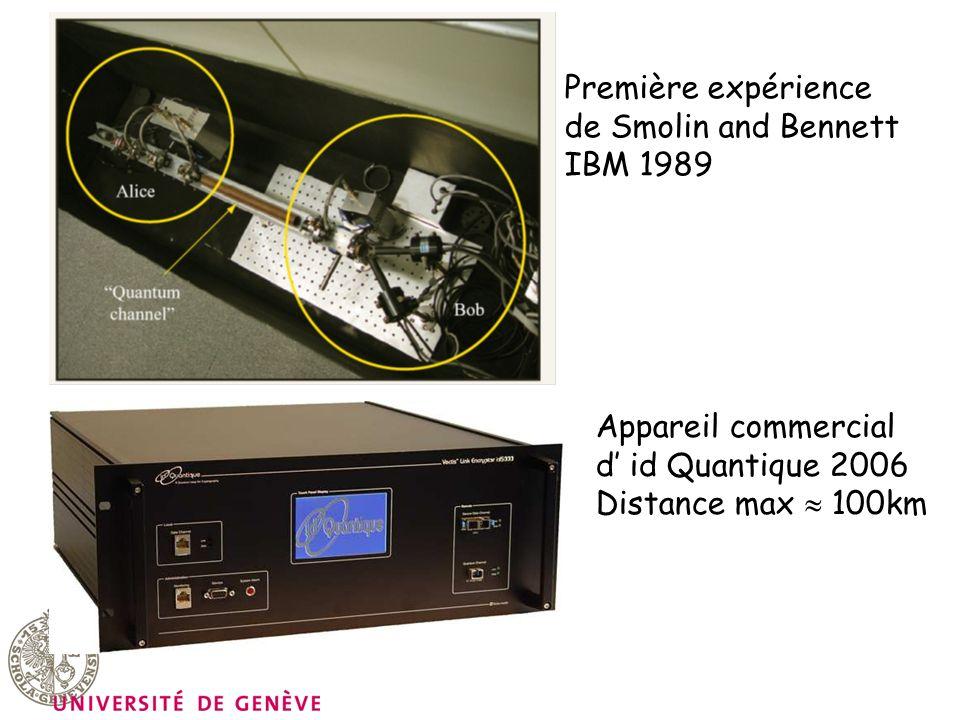 Première expérience de Smolin and Bennett IBM 1989 Appareil commercial d id Quantique 2006 Distance max 100km