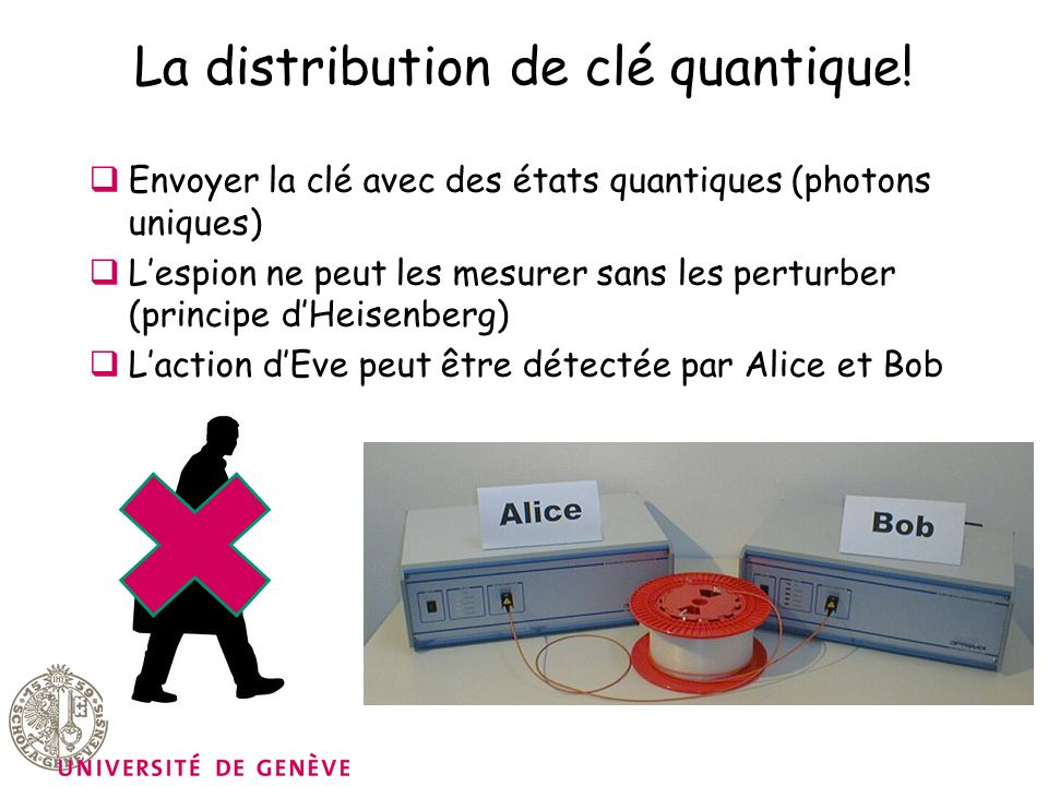 La distribution de clé quantique! Envoyer la clé avec des états quantiques (photons uniques) Lespion ne peut les mesurer sans les perturber (principe