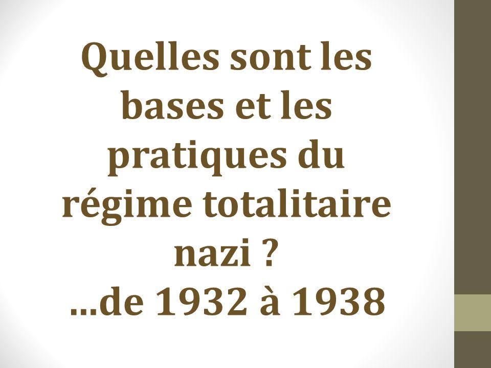 Quelles sont les bases et les pratiques du régime totalitaire nazi ? …de 1932 à 1938
