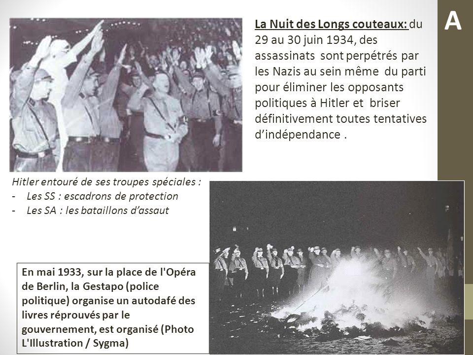 La Nuit des Longs couteaux: du 29 au 30 juin 1934, des assassinats sont perpétrés par les Nazis au sein même du parti pour éliminer les opposants politiques à Hitler et briser définitivement toutes tentatives dindépendance.