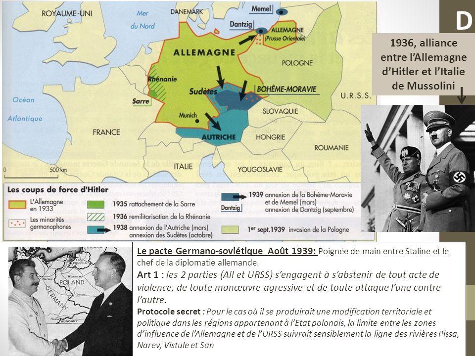Le pacte Germano-soviétique Août 1939: Poignée de main entre Staline et le chef de la diplomatie allemande. Art 1 : les 2 parties (All et URSS) sengag