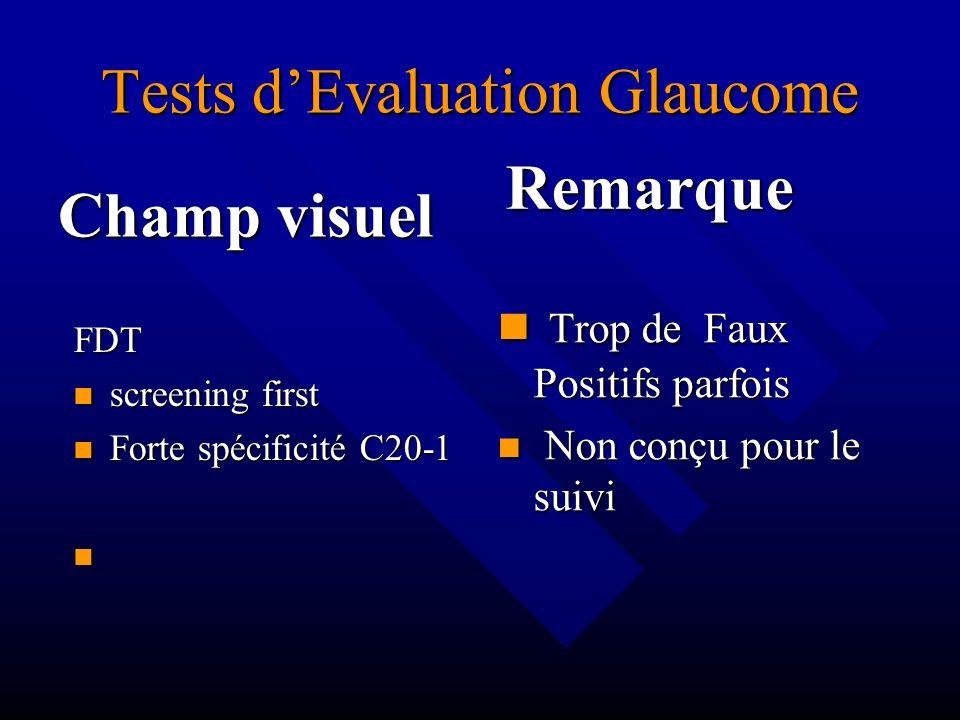 Tests dEvaluation Glaucome Champ visuel FDT screening first Forte spécificité C20-1 Remarque Trop de Faux Positifs parfois Non conçu pour le suivi