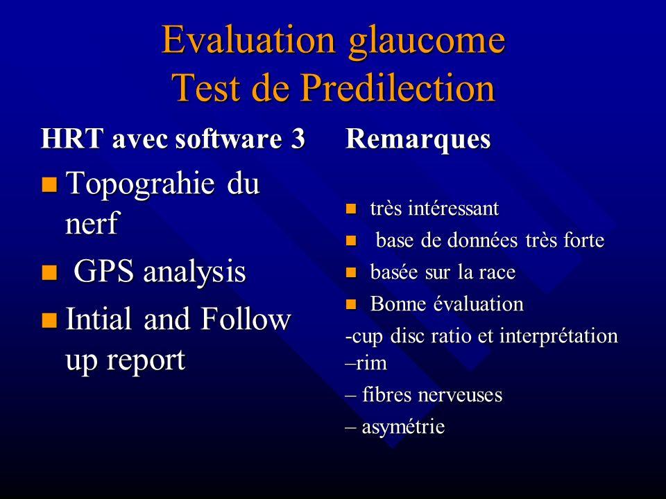 Evaluation glaucome Test de Predilection HRT avec software 3 Topograhie du nerf GPS analysis Intial and Follow up report Remarques très intéressant ba