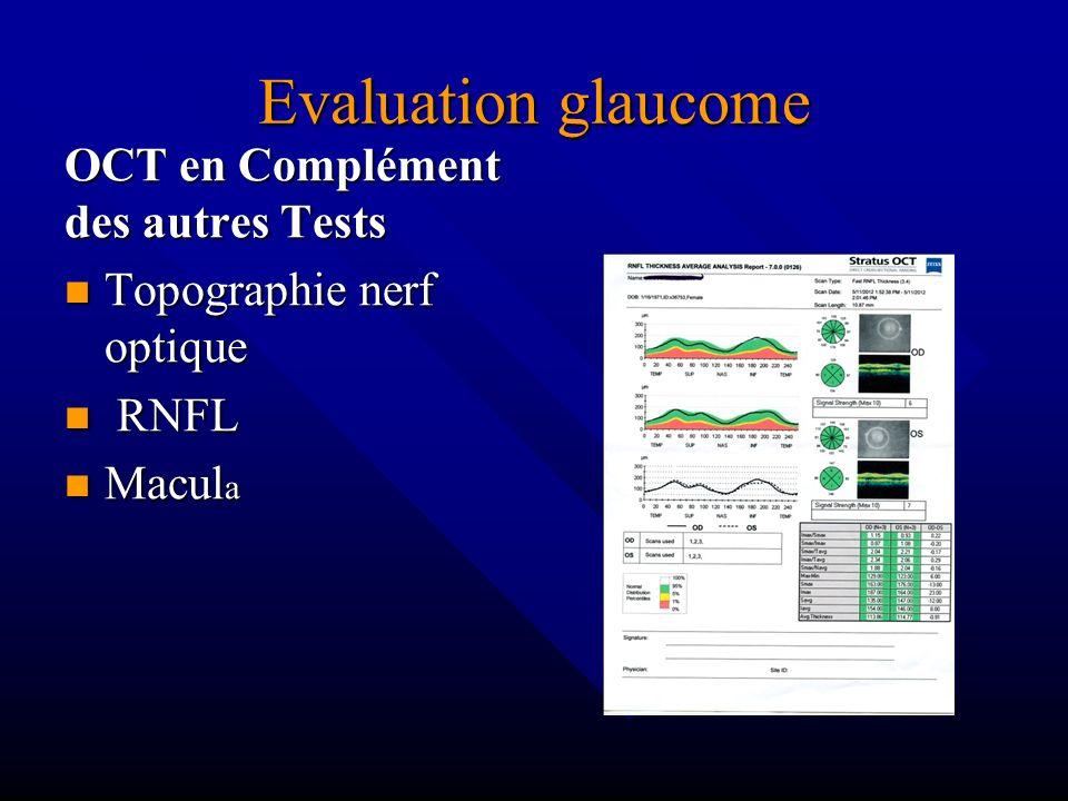 Evaluation glaucome OCT en Complément des autres Tests Topographie nerf optique RNFL Macul a