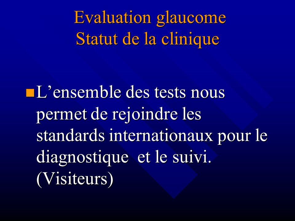 Evaluation glaucome Statut de la clinique Evaluation glaucome Statut de la clinique Lensemble des tests nous permet de rejoindre les standards interna