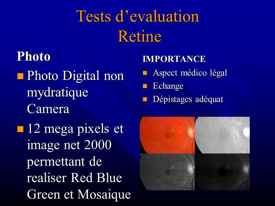 Tests devaluation Retine Photo Photo Digital non mydratique Camera 12 mega pixels et image net 2000 permettant de realiser Red Blue Green et Mosaique