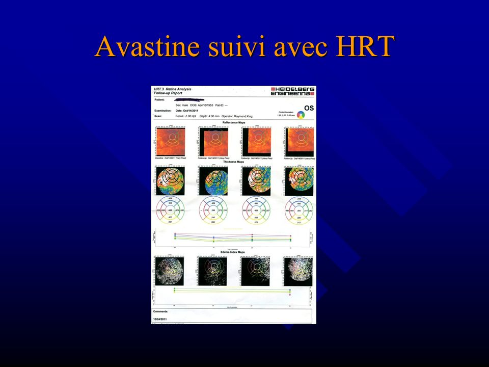 Avastine suivi avec HRT