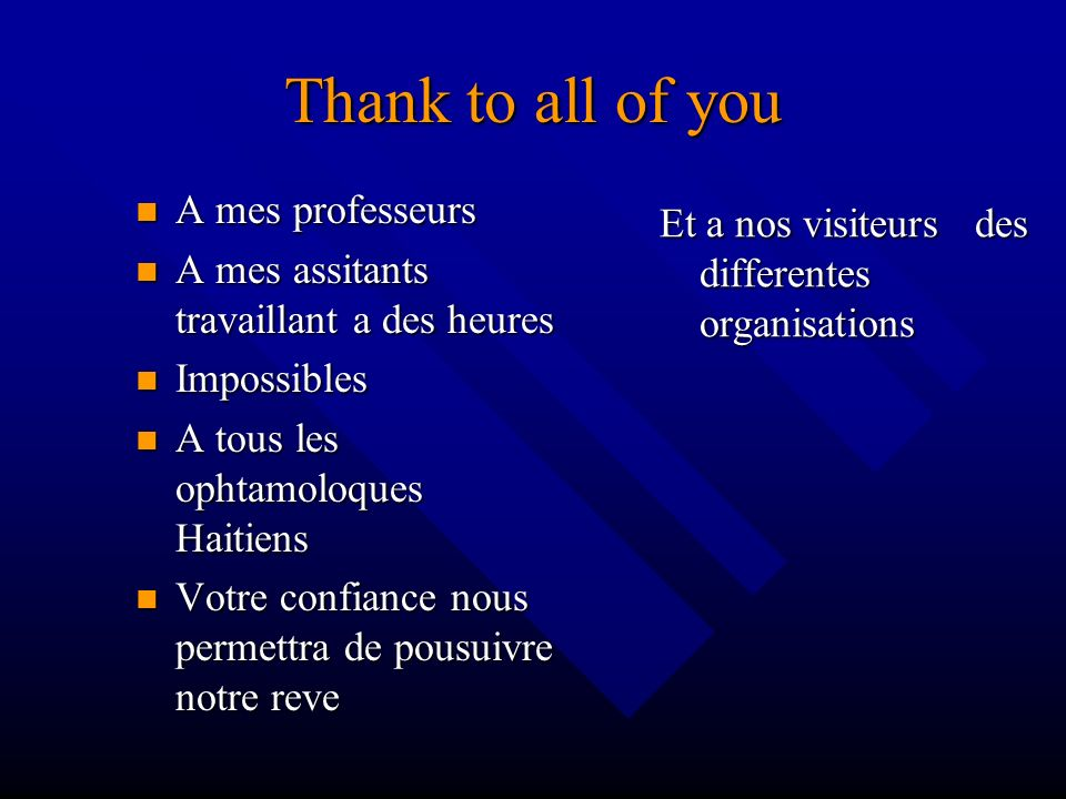 Thank to all of you A mes professeurs A mes professeurs A mes assitants travaillant a des heures A mes assitants travaillant a des heures Impossibles
