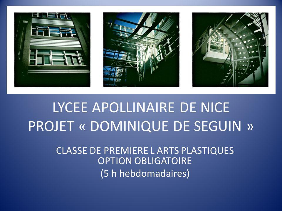 LYCEE APOLLINAIRE DE NICE PROJET « DOMINIQUE DE SEGUIN » CLASSE DE PREMIERE L ARTS PLASTIQUES OPTION OBLIGATOIRE (5 h hebdomadaires)