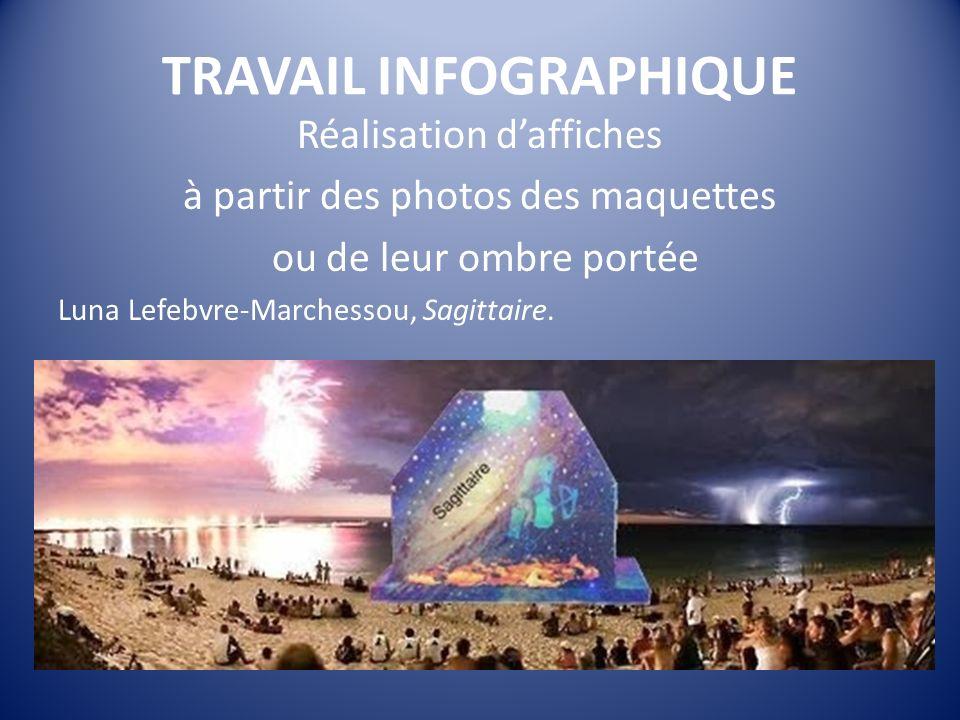 TRAVAIL INFOGRAPHIQUE Réalisation daffiches à partir des photos des maquettes ou de leur ombre portée Luna Lefebvre-Marchessou, Sagittaire.