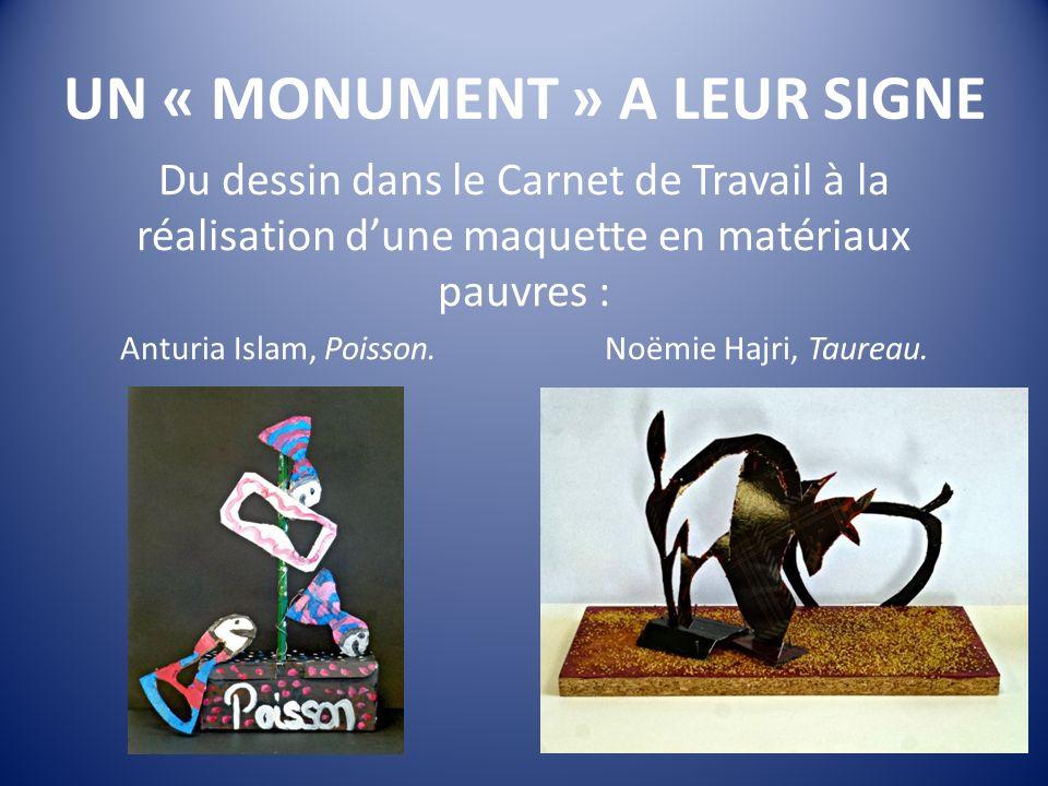 UN « MONUMENT » A LEUR SIGNE Du dessin dans le Carnet de Travail à la réalisation dune maquette en matériaux pauvres : Anturia Islam, Poisson.