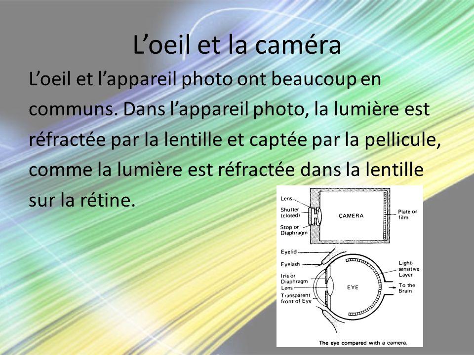 Loeil et la caméra Loeil et lappareil photo ont beaucoup en communs. Dans lappareil photo, la lumière est réfractée par la lentille et captée par la p