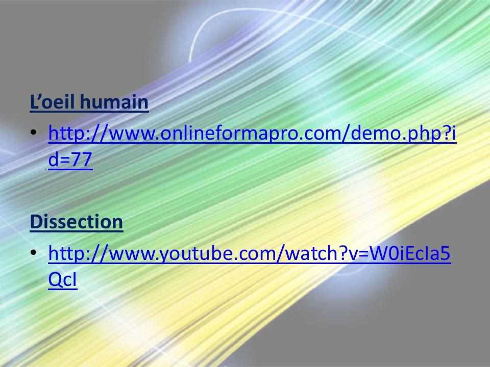 Loeil humain http://www.onlineformapro.com/demo.php?i d=77 http://www.onlineformapro.com/demo.php?i d=77 Dissection http://www.youtube.com/watch?v=W0i