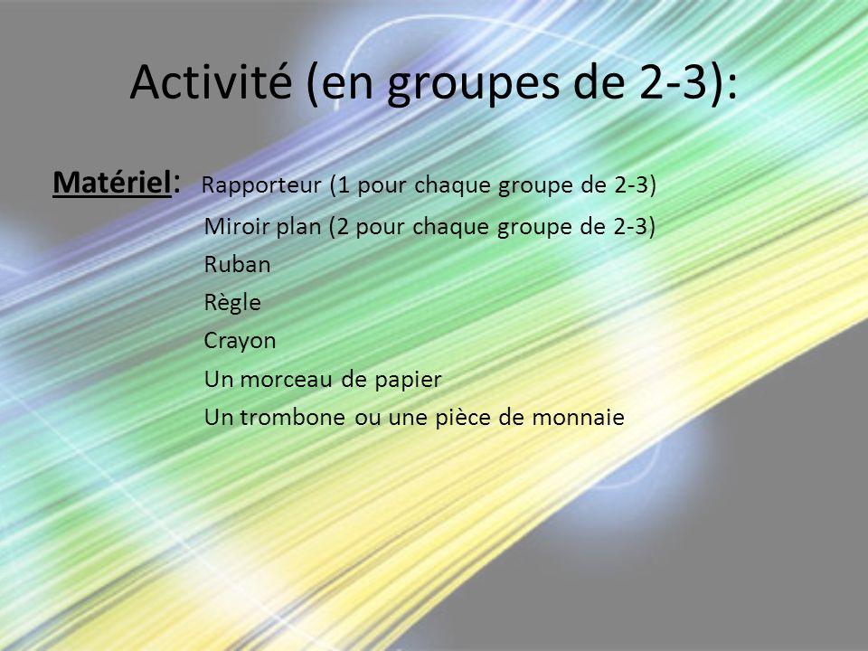 Activité (en groupes de 2-3): Matériel : Rapporteur (1 pour chaque groupe de 2-3) Miroir plan (2 pour chaque groupe de 2-3) Ruban Règle Crayon Un morc