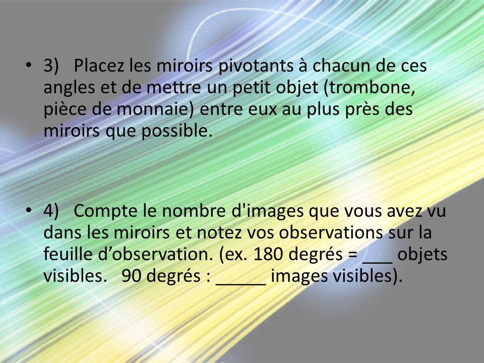 3)Placez les miroirs pivotants à chacun de ces angles et de mettre un petit objet (trombone, pièce de monnaie) entre eux au plus près des miroirs que