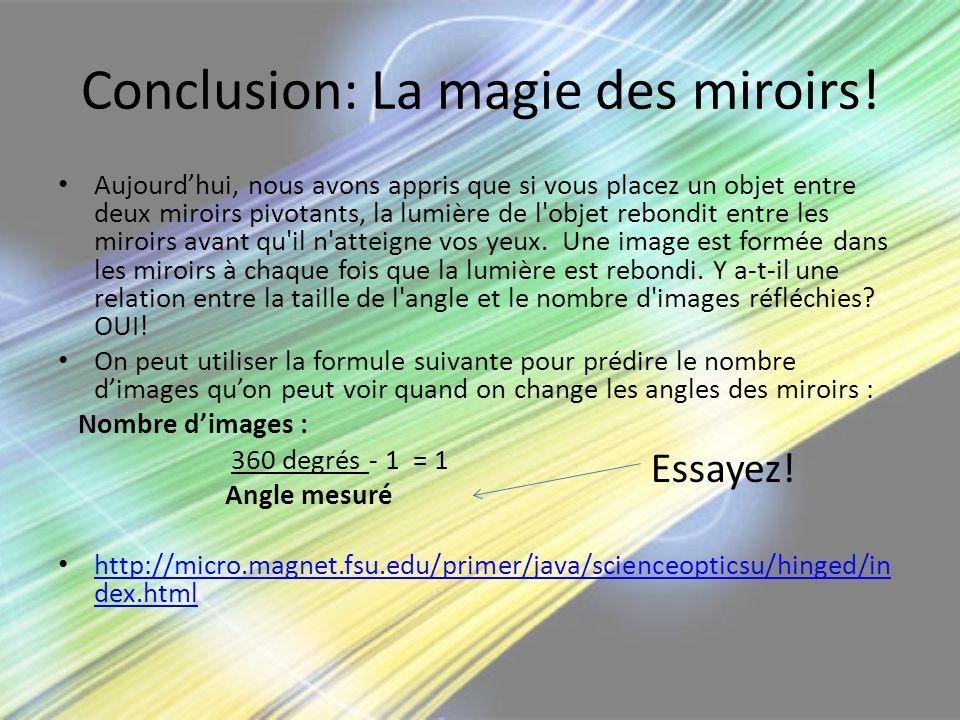 Conclusion: La magie des miroirs! Aujourdhui, nous avons appris que si vous placez un objet entre deux miroirs pivotants, la lumière de l'objet rebond