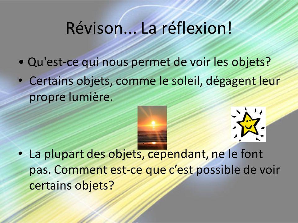 Révison... La réflexion! Qu'est-ce qui nous permet de voir les objets? Certains objets, comme le soleil, dégagent leur propre lumière. La plupart des